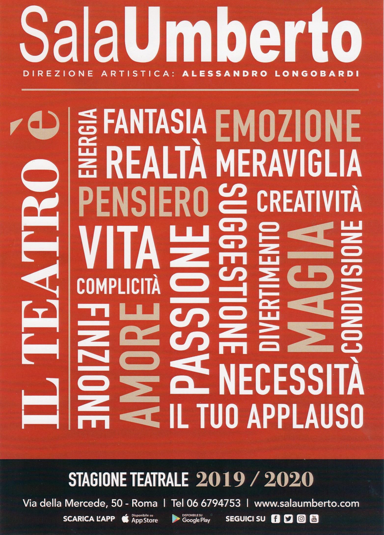 Calendario Maggio 2020.La Nuova Stagione Teatrale 2019 2020 Della Sala Umberto